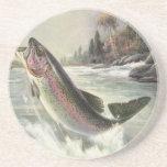 Vintage Fisherman Fishing Rainbow Trout Fish Drink Coaster
