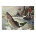 Vintage Fisherman Fishing Rainbow Trout Fish Greeting Card