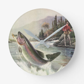 Vintage Fisherman Fishing Rainbow Trout Fish Round Wall Clocks