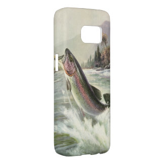 Vintage Fisherman Fishing Rainbow Trout Fish Samsung Galaxy S7 Case