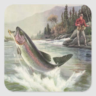 Vintage Fisherman Fishing Rainbow Trout Fish Square Sticker