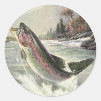 Vintage Fisherman Fishing Rainbow Trout Fish Classic Round Sticker