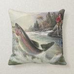 Vintage Fisherman Fishing Rainbow Trout Fish Throw Pillow