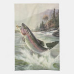 Vintage Fisherman Fishing Rainbow Trout Fish Towels