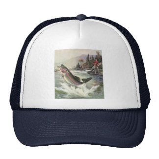 Vintage Fisherman Fishing Rainbow Trout Fish Trucker Hat