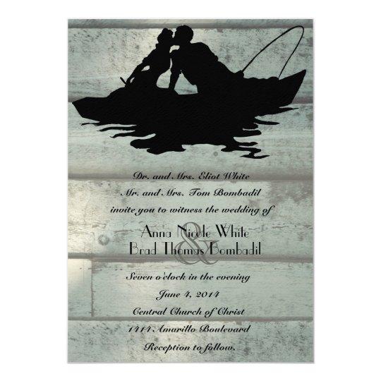 Vintage Fishermen Boat Old Wood Wedding Invitation