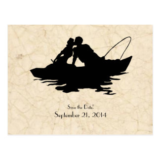 Vintage Fishermen Lovers Boat Save the Date Postcard