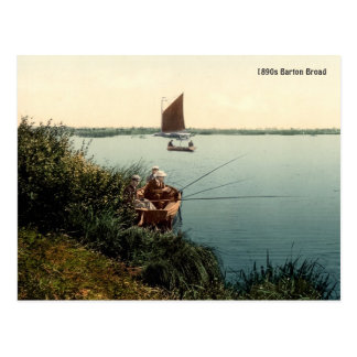 Vintage fishing at Barton Broad Postcard