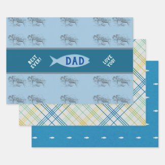 Vintage Fishing Boat Scene Father's Day Wrapping Paper Sheets