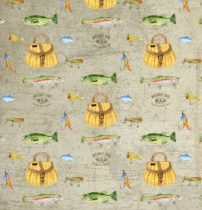 Vintage Fishing Cabin Large Mouth Bass Trout Fish Shower Curtain