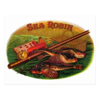 Vintage Fishing Gear Cigar Label Art, Sea Robin Postcard