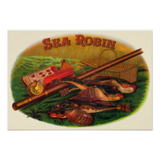 Vintage Fishing Gear Cigar Label Art, Sea Robin Poster