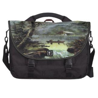 Vintage Fishing Landscape Bag For Laptop