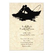 Vintage Fishing Lovers Boat Wedding Invitation