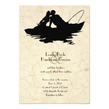 Beach Themed Vintage Fishing Lovers Boat Wedding Invitation