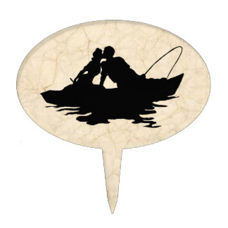 Vintage Fishing Lovers Cake Topper