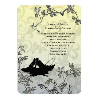 Vintage Fishing Lovers Tree Blue Yellow Wedding Card