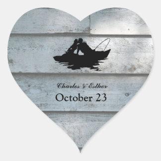 Vintage Fishing Lovers Wood Heart Sticker