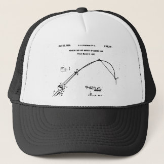 Vintage Fishing Rod Patent Trucker Hat