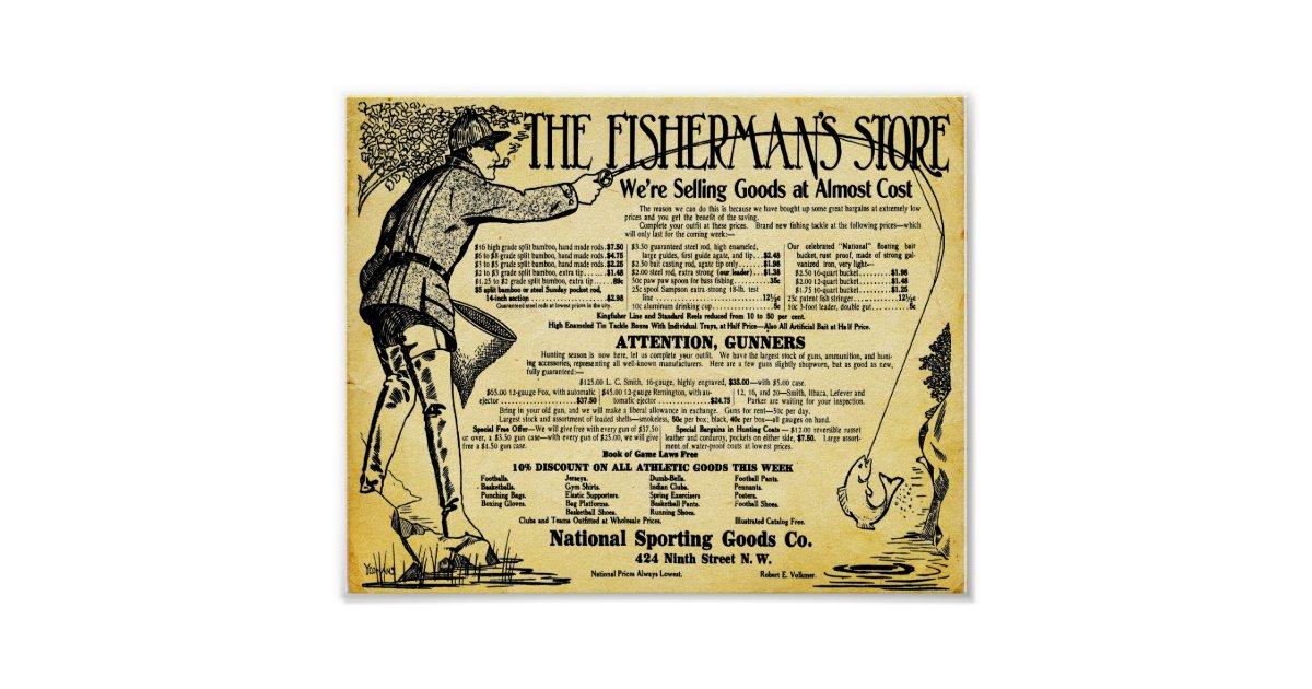 Vintage Fishing Store And Tackle Print   Zazzle