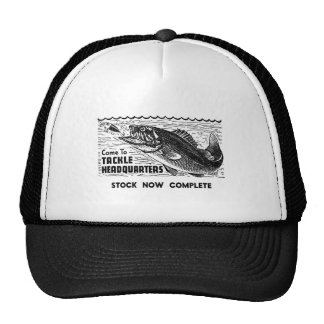 Vintage Fishing Tackle Ad Classic Kitsch Hat
