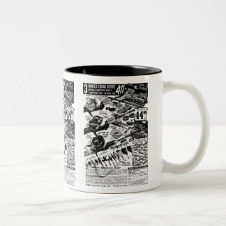 Vintage Fishing Tackle Ad Classic Kitsch Two-Tone Coffee Mug