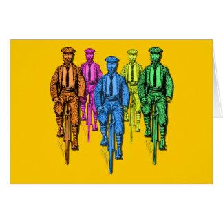 Vintage Five Fellas on Bikes Illustration Greeting Card