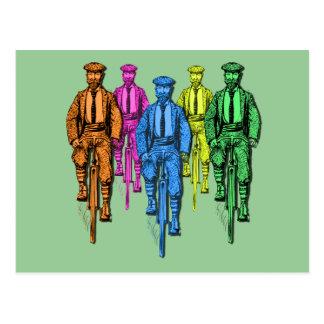 Vintage Five Fellas on Bikes Illustration Postcard