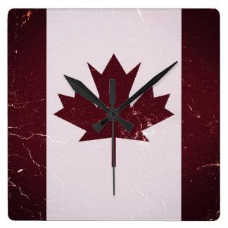 Vintage Flag Canada 2 Square Wall Clock