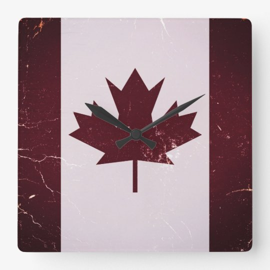 Vintage Flag Canada 2 Square Wall Clock