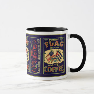 Vintage Flag Coffee Label, Flag Brand 1 Pound Mug