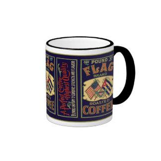 Vintage Flag Coffee Label, Flag Brand 1 Pound Coffee Mugs