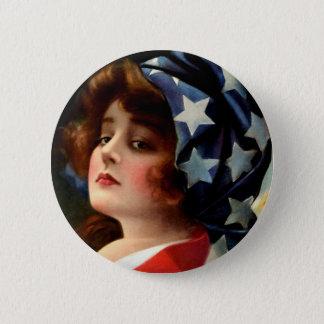 Vintage Flag Girl July 4th Stars Pretty Lady Art Button