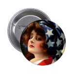 Vintage Flag Girl July 4th Stars Pretty Lady Art Button