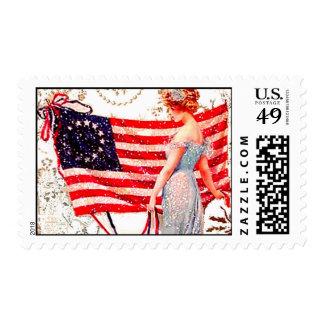 Vintage Flag Lady July 4th Patriotic Gibson Girl Postage Stamp
