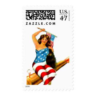 Vintage Flag Lady July 4th Patriotic Pinup Girl Stamp
