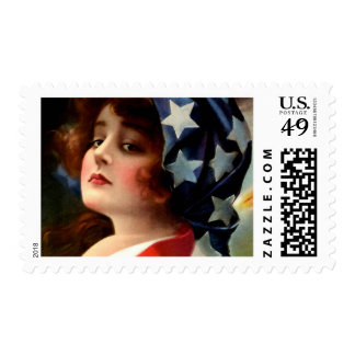 Vintage Flag Lady July 4th Patriotic Postcard Art Postage