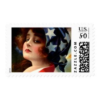 Vintage Flag Lady July 4th Patriotic Postcard Art Postage