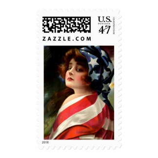 Vintage Flag Lady July 4th Patriotic Postcard Art Postage Stamp