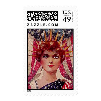 Vintage Flag Lady Liberty July 4th Patriotic Postage