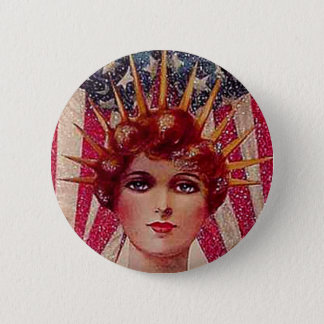 Vintage Flag Lady Liberty Patriotic July 4th Pinback Button