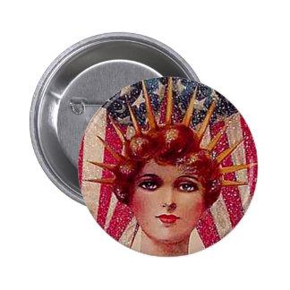 Vintage Flag Lady Liberty Patriotic July 4th Pinback Button