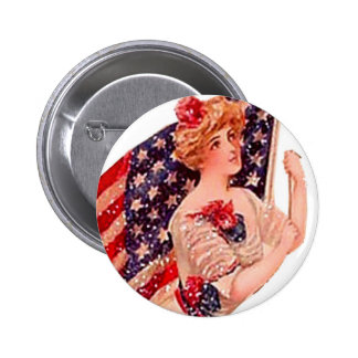 Vintage Flag Lady Victorian Gibson Girl July 4th Button