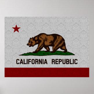 Vintage Flag of California Damask Pattern Poster