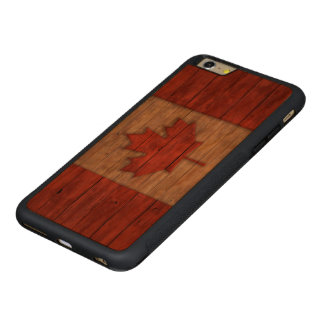 Vintage Flag of Canada Distressed Carved Cherry iPhone 6 Plus Bumper Case