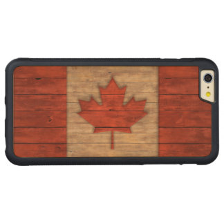 Vintage Flag of Canada Distressed Carved Maple iPhone 6 Plus Bumper Case