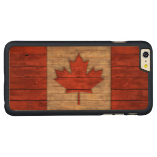 Vintage Flag of Canada Distressed Carved Maple iPhone 6 Plus Slim Case