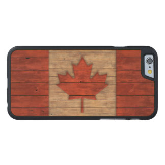 Vintage Flag of Canada Distressed Carved Maple iPhone 6 Slim Case