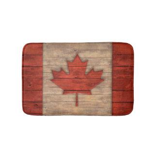 Vintage Flag of Canada Distressed Wood Design Bathroom Mat