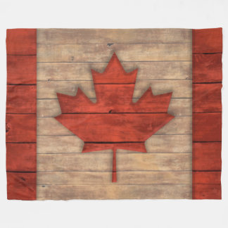 Vintage Flag of Canada Distressed Wood Design Fleece Blanket
